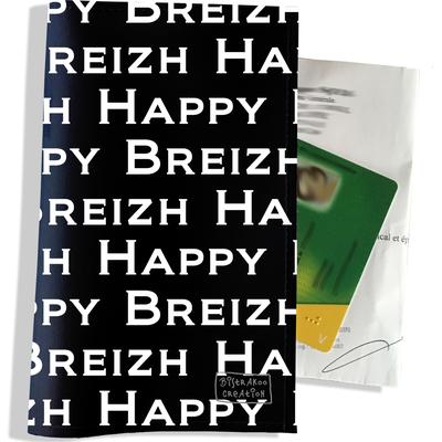 Porte ordonnance et carte vitale Happy Breizh fond noir PO8005