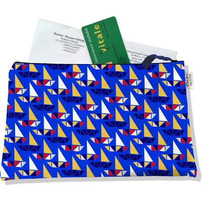 Porte ordonnances zippé pour femme Bateaux multicolores fond bleu 4037