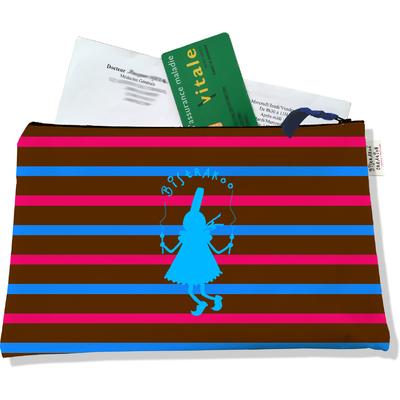 Porte ordonnances zippé pour femme Bigoudène Bistrakoo bleue fond marinière multicolore 684