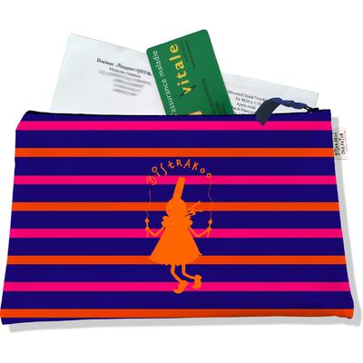Porte ordonnances zippé pour femme Bigoudène Bistrakoo orange fond marinière multicolore 683