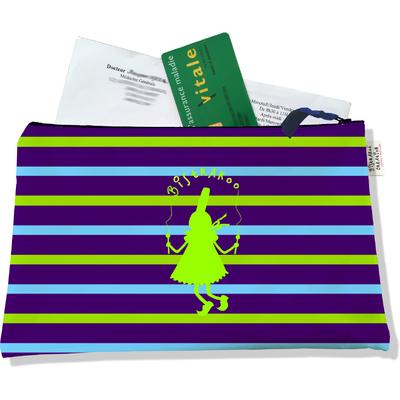 Porte ordonnances zippé pour femme Bigoudène Bistrakoo verte fond marinière multicolore 686