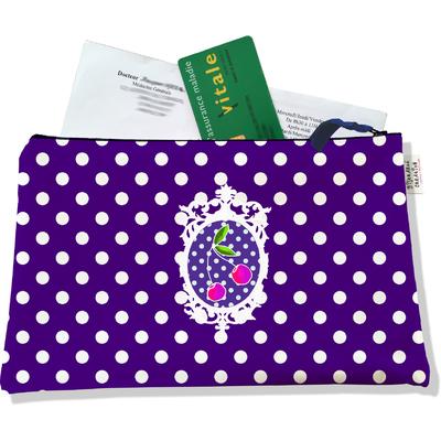 Porte ordonnances zippé pour femme Cerises pois blancs fond violet 823