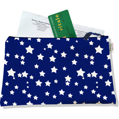 Porte ordonnances zippé pour femme Etoiles blanches fond bleu marine 729