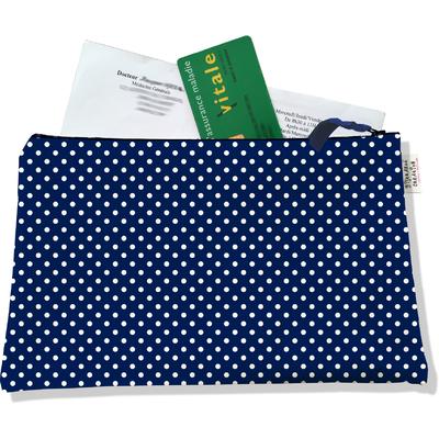 Porte ordonnances zippé pour femme Petits pois blancs fond bleu marine 2064