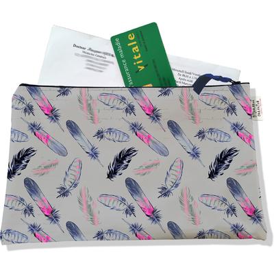 Porte ordonnances zippé pour femme Plumes multicolores fond gris 3237