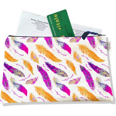 Porte ordonnances zippé pour femme Plumes multicolores 4009