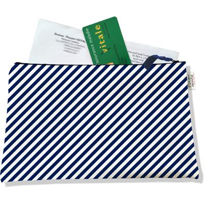 Porte ordonnances zippé pour homme Lignes transversales bleu marine 2074