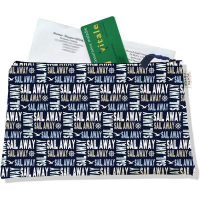 Porte ordonnances zippé pour homme Sail Away fond bleu marine 2142