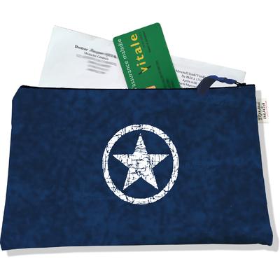 Porte ordonnances zippé pour homme Etoile blanche fond bleu marine 925