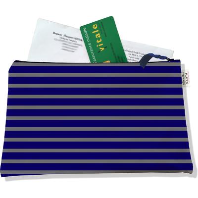 Porte ordonnances zippé pour homme Marinière bleu marine et grise 2174