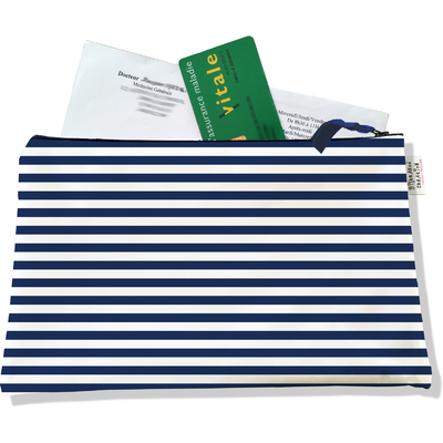 Porte ordonnances zippé pour homme Marinière bleu marine 2131