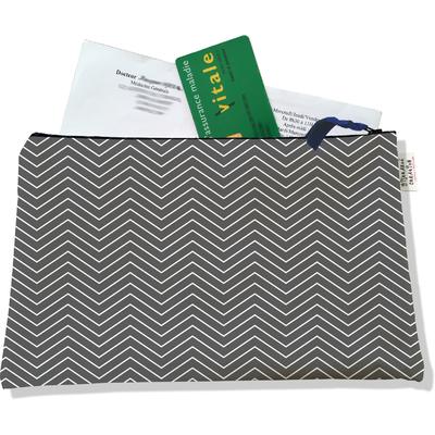 Porte ordonnances zippé Chevrons gris 2084