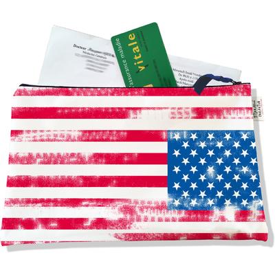 Porte ordonnances zippé Drapeau américain Stars and Stripes Vintage 751