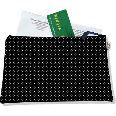 Porte ordonnances zippé Petits pois blancs fond noir 2066
