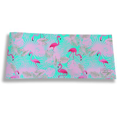 Porte-chéquier long horizontal pour femme Flamants et feuillage roses fond bleu 3116