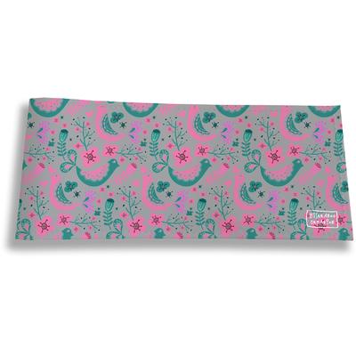 Porte-chéquier long horizontal pour femme Oiseaux verts et roses 3231