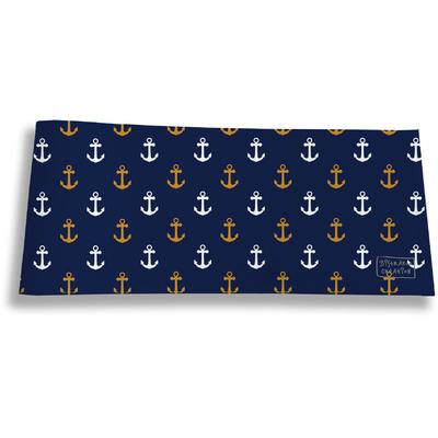 Porte-chéquier long horizontal pour homme Ancres fond bleu marine 2103