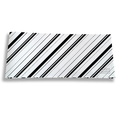 Porte-chéquier long horizontal pour homme Bandes et Lignes noires fond blanc 2504