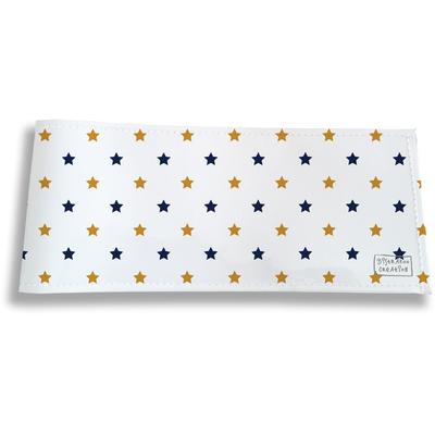 Porte-chéquier long horizontal pour homme Etoiles bleu marine et or 2101