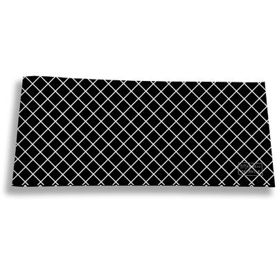Porte-chéquier long horizontal pour homme Grille blanche fond noir 2507