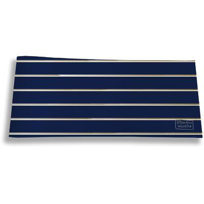 Porte-chéquier long horizontal pour homme Lignes fond bleu marine 2100