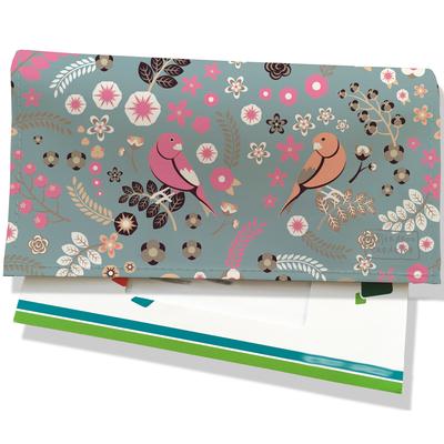 Porte-chéquier pour femme Oiseaux petites fleurs multicolores fond gris 3206