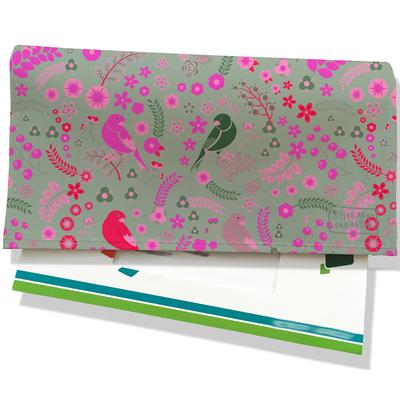 Porte-chéquier pour femme Oiseaux Petites fleurs multicolores verte fond gris 3210