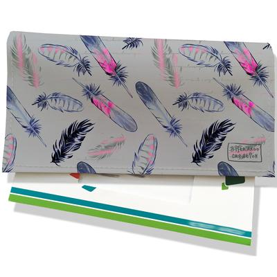 Porte-chéquier pour femme plumes roses et bleu marine fond gris 3237-2017