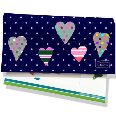 Porte-chéquier pour femme Saint-Valentin pour elle coeurs multicolores pois gris fond bleu marine 3275-2017