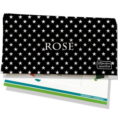 Porte-chéquier portefeuille personnalisé femme étoiles blanches fond noir P2092-2015
