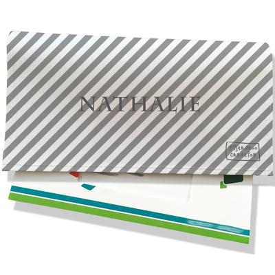 Porte-chéquier portefeuille personnalisé femme lignes grises transversales fond blanc P2073-2015