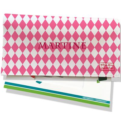 Porte-chéquier portefeuille personnalisé femme losanges roses fond blanc P2076-2015
