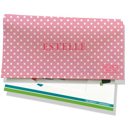 Porte-chéquier portefeuille personnalisé femme pois blancs fond rose P2060-2015