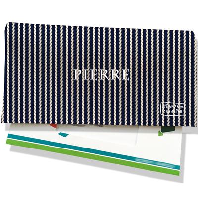 Porte-chéquier portefeuille personnalisé homme cordelettes blanches fond bleu marine P2133-2015