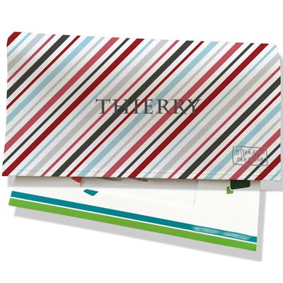 Porte-chéquier portefeuille personnalisé homme lignes multicolores transversales P2146-2015