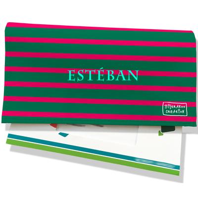 Porte-chéquier portefeuille personnalisé homme marinière verte et rouge P2168-2015