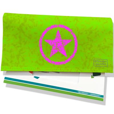 Porte-chéquier pour femme Etoile rose fond vert 1407