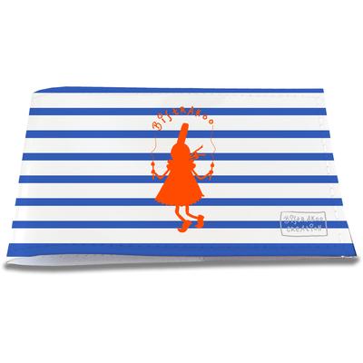 Porte-chéquier restaurant pour femme Bigoudène orange marinière bleue 2012