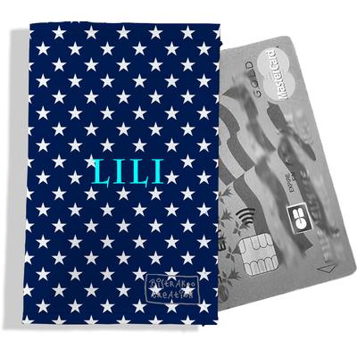 Porte-carte bancaire personnalisé femme étoiles blanches fond bleu marine P2088-2015