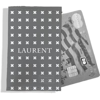 Porte-carte bancaire personnalisé Homme Motif Petites croix blanches fond gris Réf. P2151-2015