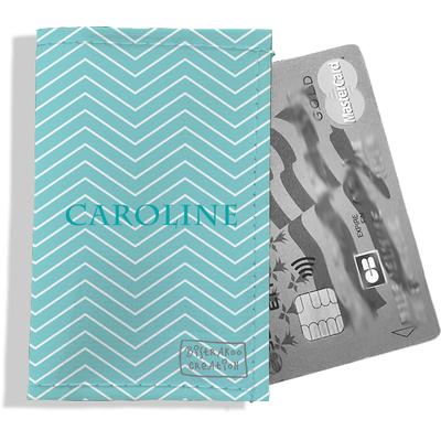 Porte-carte bancaire personnalisé femme chevrons blancs fond bleu ciel P2085-2015