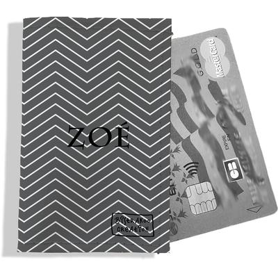 Porte-carte bancaire personnalisé femme chevrons blancs fond gris P2084-2015