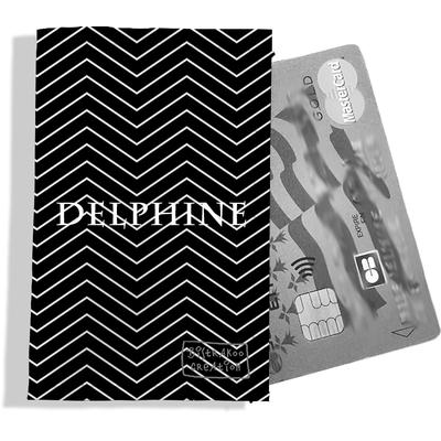 Porte-carte bancaire personnalisé femme chevrons blancs fond noir P2087-2015