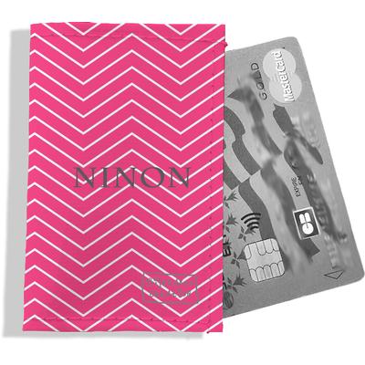 Porte-carte bancaire personnalisé femme chevrons blancs fond rose P2086-2015