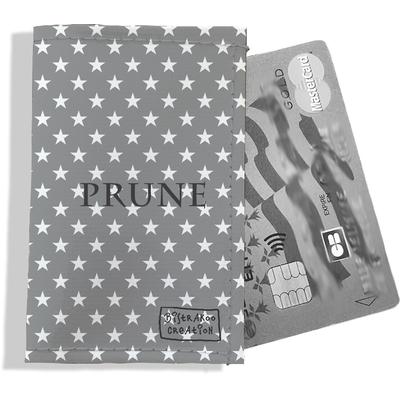 Porte-carte bancaire personnalisé femme étoiles blanches fond gris P2090