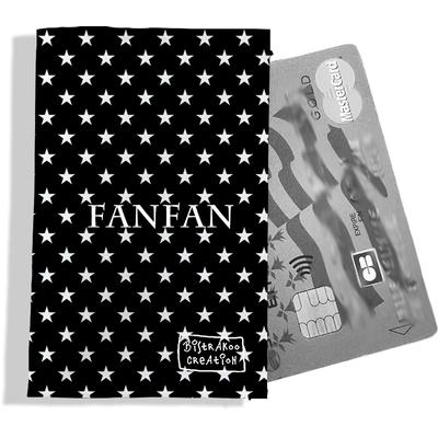 Porte-carte bancaire personnalisé femme étoiles blanches fond noir P2092-2015