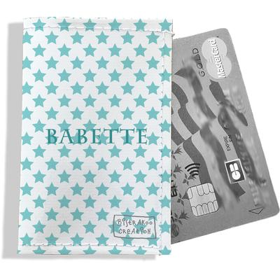 Porte-carte bancaire personnalisé femme étoiles bleu ciel P2093-2015