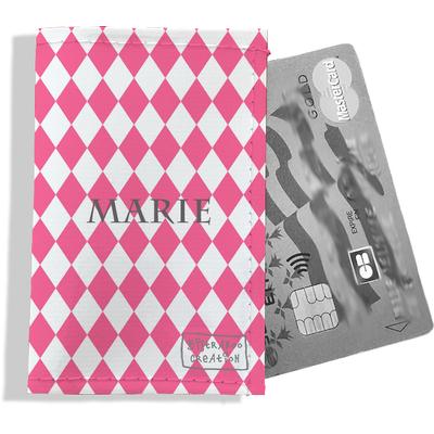 Porte-carte bancaire personnalisé femme graphique rose P2076-2015