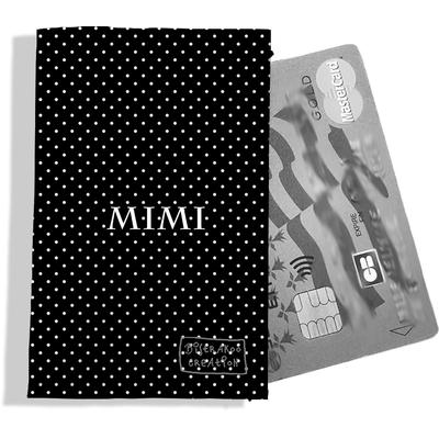 Porte-carte bancaire personnalisé femme petits pois blancs fond noir P2066-2015