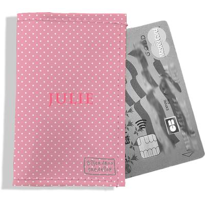 Porte-carte bancaire personnalisé femme petits pois blancs fond rose P2062-2015